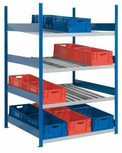 Bereitstellregal, Stecksystem, Grundfeld, RAL 5010 enzianblau/ verzinkt