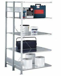 Doppelregal Stecksystem, Anbauregal, mit Längenriegel, H3000xB1000xT2x400, Fachlast 150kg, sendzimirverzinkt