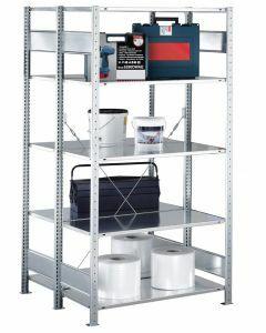 Doppelregal Stecksystem, Grundregal, mit Kreuzstrebe, H2000xB1000xT2x300, Fachlast 150kg, sendzimirverzinkt