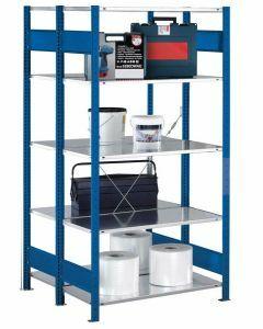 Doppelregal Stecksystem, Grundregal, mit Kreuzstrebe, H2500xB1000xT2x500, Fachlast 250kg, RAL 5010 enzianblau
