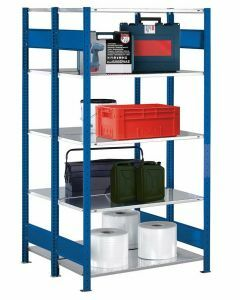 Doppelregal Stecksystem, Grundregal, mit Längenriegel, H3000xB1000xT2x600, Fachlast 150kg, RAL 5010 enzianblau