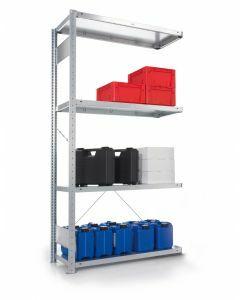 META CLIP S3 - Fachbodenregale Stecksystem, Anbauregal, einseitig nutzbar, H2000xB1000xT300 mm, 5 Fachböden, Fachlast 80 kg, verzinkt