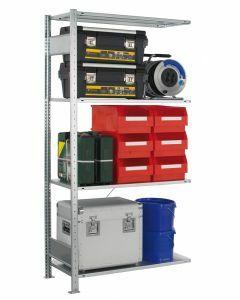 SCHULTE Steckregal, MULTIplus-Set, Anbauregal, einseitig nutzbar, H2000xB1000xT600 mm, 4 Fachböden, Fachlast 150 kg, sendzimirverzinkt