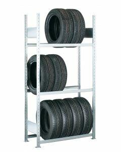 Räder-/Reifenregal, Grundregal, H4500xB1200xT400 mm, Fachlast 150 kg, Feldlast 2000 kg, verzinkt