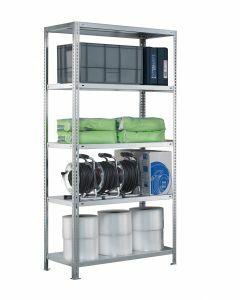 SCHULTE Schraubregal - Fachbodenregale Schraubsystem, Grundregal, beidseitig nutzbar, H2500xB750xT300 mm, 6 Fachböden, Fachlast 250 kg, sendzimirverzinkt