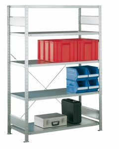 SCHULTE Steckregal, Fachbodenregale Stecksystem, Grundregal, einseitig nutzbar, H2000xB1300xT300 mm, 5 Fachböden, Fachlast 150 kg, sendzimirverzinkt