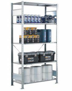 SCHULTE Steckregal, Fachbodenregale Stecksystem, Grundregal, einseitig nutzbar, H2000xB1000xT300 mm, 5 Fachböden, Fachlast 150 kg, RAL 7035 lichtgrau