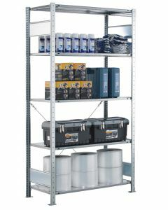 SCHULTE Steckregal, Fachbodenregale Stecksystem, Grundregal, einseitig nutzbar, H2000xB1000xT400 mm, 5 Fachböden, Fachlast 150 kg, RAL 7035 lichtgrau