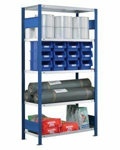 SCHULTE Steckregal, Fachbodenregale Stecksystem, Grundregal, beidseitig nutzbar, H1800xB750xT400 mm, 4 Fachböden, Fachlast 250 kg, RAL 5010 / enzianblau