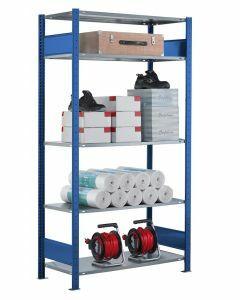 SCHULTE Steckregal, Fachbodenregale Stecksystem, Grundregal, beidseitig nutzbar, H2300xB1000xT350 mm, 5 Fachböden, Fachlast 85 kg, RAL 5010 / enzianblau