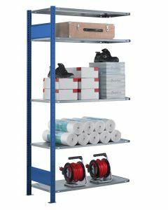 SCHULTE Steckregal, Fachbodenregale Stecksystem, Anbauregal, beidseitig nutzbar, H2500xB1300xT300 mm, 6 Fachböden, Fachlast 85 kg, RAL 5010 / enzianblau