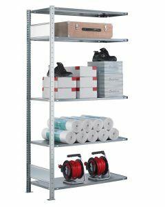 SCHULTE Steckregal, Fachbodenregale Stecksystem, Anbauregal, beidseitig nutzbar, H2000xB1300xT300 mm, 5 Fachböden, Fachlast 85 kg, sendzimirverzinkt