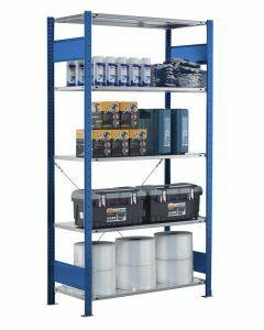 SCHULTE Steckregal, Fachbodenregale Stecksystem, Grundregal, einseitig nutzbar, H1800xB1000xT300 mm, 4 Fachböden, Fachlast 150 kg, RAL 5010 / enzianblau