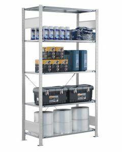 SCHULTE Steckregal, Fachbodenregale Stecksystem, Grundregal, einseitig nutzbar, H1800xB1000xT300 mm, 4 Fachböden, Fachlast 150 kg, RAL 7035 lichtgrau