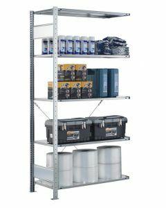SCHULTE Steckregal, Fachbodenregale Stecksystem, Anbauregal, einseitig nutzbar, H1800xB750xT400 mm, 4 Fachböden, Fachlast 150 kg, sendzimirverzinkt