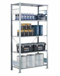 SCHULTE Steckregal, Fachbodenregale Stecksystem, Grundregal, einseitig nutzbar, H2300xB1000xT400 mm, 5 Fachböden, Fachlast 150 kg, sendzimirverzinkt