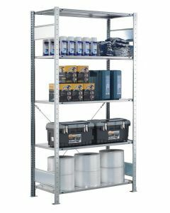 SCHULTE Steckregal, Fachbodenregale Stecksystem, Grundregal, einseitig nutzbar, H2300xB750xT800 mm, 5 Fachböden, Fachlast 150 kg, sendzimirverzinkt