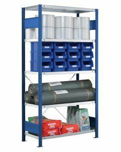 SCHULTE Steckregal, Fachbodenregale Stecksystem, Grundregal, einseitig nutzbar, H1800xB750xT600 mm, 4 Fachböden, Fachlast 250 kg, RAL 5010 / enzianblau