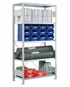SCHULTE Steckregal, Fachbodenregale Stecksystem, Grundregal, einseitig nutzbar, H1800xB1000xT300 mm, 4 Fachböden, Fachlast 250 kg, RAL 7035 lichtgrau