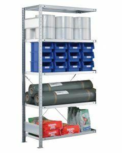 SCHULTE Steckregal, Fachbodenregale Stecksystem, Anbauregal, einseitig nutzbar, H1800xB750xT300 mm, 4 Fachböden, Fachlast 250 kg, sendzimirverzinkt