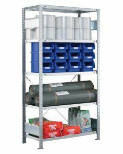 SCHULTE Steckregal, Fachbodenregale Stecksystem, Grundregal, einseitig nutzbar, H1800xB750xT500 mm, 4 Fachböden, Fachlast 250 kg, sendzimirverzinkt