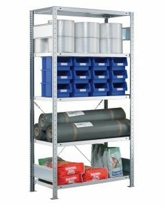 SCHULTE Steckregal, Fachbodenregale Stecksystem, Grundregal, einseitig nutzbar, H1800xB750xT600 mm, 4 Fachböden, Fachlast 250 kg, sendzimirverzinkt