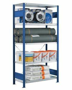 SCHULTE Steckregal, Fachbodenregale Stecksystem, Grundregal, einseitig nutzbar, H1800xB1000xT300 mm, 4 Fachböden, Fachlast 330 kg, RAL 5010 / enzianblau