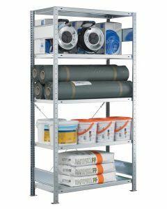 SCHULTE Steckregal, Fachbodenregale Stecksystem, Grundregal, einseitig nutzbar, H1800xB1000xT500 mm, 4 Fachböden, Fachlast 330 kg, sendzimirverzinkt