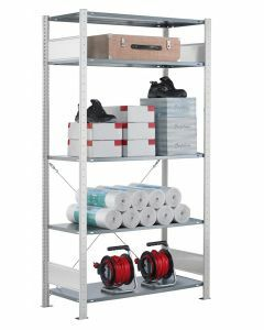 SCHULTE Steckregal, Fachbodenregale Stecksystem, Grundregal, einseitig nutzbar, H1800xB750xT350 mm, 4 Fachböden, Fachlast 85 kg, RAL 7035 lichtgrau