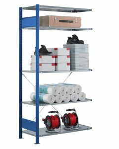 SCHULTE Steckregal, Fachbodenregale Stecksystem, Anbauregal, einseitig nutzbar, H2500xB1300xT300 mm, 6 Fachböden, Fachlast 85 kg, RAL 5010 / enzianblau