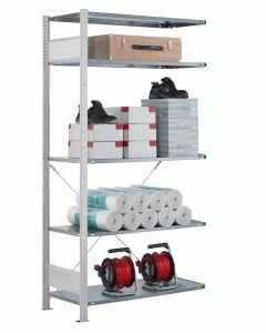 SCHULTE Steckregal, Fachbodenregale Stecksystem, Anbauregal, einseitig nutzbar, H2000xB1300xT300 mm, 5 Fachböden, Fachlast 85 kg, RAL 7035 lichtgrau