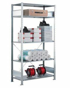 SCHULTE Steckregal, Fachbodenregale Stecksystem, Grundregal, einseitig nutzbar, H2500xB750xT400 mm, 6 Fachböden, Fachlast 150 kg, sendzimirverzinkt