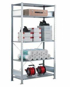 SCHULTE Steckregal, Fachbodenregale Stecksystem, Grundregal, einseitig nutzbar, H3000xB750xT500 mm, 7 Fachböden, Fachlast 150 kg, sendzimirverzinkt