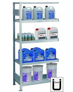 Umwelt-Wannenbodenregale, Anbauregal, H2000xB1000xT500 mm, Fachlast 150 kg, verzinkt, StawaR-konform