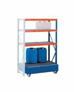 Weitspannregal W 100, Anbaufeld mit  Ebenen Gitterrostböden, Höhe 2000 mm, Breite 1250 mm, Tiefe 600 mm, blau / orange / verzinkt