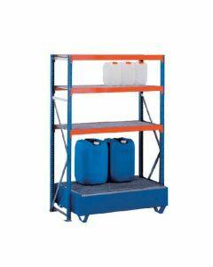 Weitspannregal W 100, Grundfeld mit  Ebenen Gitterrostböden, Höhe 2000 mm, Breite 1250 mm, Tiefe 600 mm, blau / orange / verzinkt