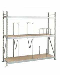 Weitspannregal WS 3000, Grundfeld, H2500xB1500xT800 mm, 4 Lagerebenen mit Spanplatten, verzinkt