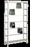 Pendelhefteregal Schraubsystem, Grundregal, Zippel, H1800xB1000xT350 mm, 5 Pendelstangen, 45 kg Fachlast, verzinkt / RAL 7035 lichtgrau
