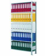 Ordnerregale Stecksystem, Anbaufeld, H1800xB750xT300 mm, einseitig nutzbar ohne Anschlagleiste, RAL 7035 lichtgrau