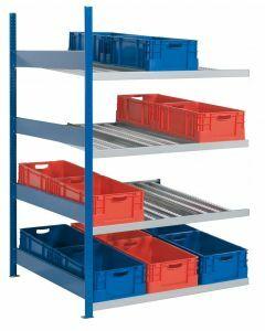 Bereitstellregal, Stecksystem, Anbaufeld, RAL 5010 enzianblau/ verzinkt
