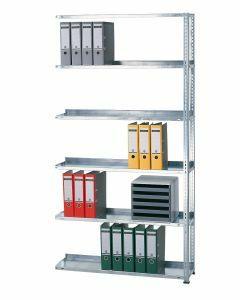 Ordnerregale Schraubsystem, Anbaufeld, H1800xB1000xT300 mm, einseitig nutzbar ohne Anschlagleiste, RAL 7035 lichtgrau