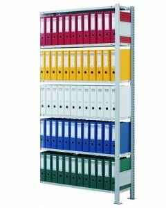 Ordnerregale Stecksystem, Anbaufeld, H1800xB750xT300 mm, einseitig nutzbar ohne Anschlagleiste, sendzimirverzinkt