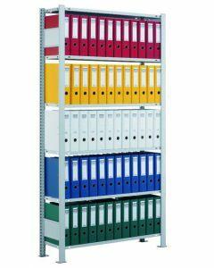 Ordnerregale Stecksystem, Grundfeld, H1800xB750xT300 mm, einseitig nutzbar mit Anschlagleiste, RAL 7035 lichtgrau