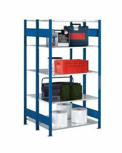 Doppelregal Stecksystem, Grundregal, mit Längenriegel, H2500xB1000xT2x300, Fachlast 250kg, RAL 5010 enzianblau