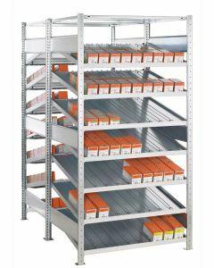 Doppel-Kanbanregal, Grundregal, beidseitig nutzbar, H2000xB1300xT2x800 mm, Ausführung - Ohne Trenn- und Seitenführungen, verzinkt