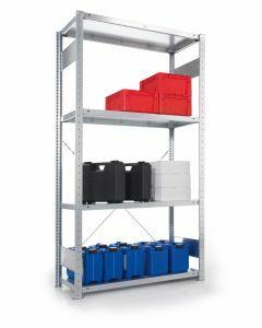 META CLIP - Fachbodenregale Stecksystem, Grundregal, einseitig nutzbar, H2000xB1000xT300 mm, 5 Fachböden, Fachlast 80 kg, verzinkt