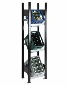 Getränkekistenregal, Stecksystem, Grundfeld, Breite 400mm, schwarz/silber