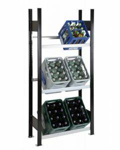 Getränkekisten-Regal, Grundregal, H1800xB1300xT300 mm, schwarz/silber