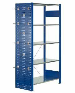 Lochplatten-Seitenwand, H1000xT600mm, RAL 5010 enzianblau