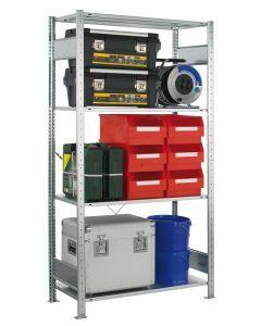 SCHULTE Steckregal, MULTIplus-Pack, Grundregal, einseitig nutzbar, H2000xB1000xT400 mm, 4 Fachböden, Fachlast 150 kg, sendzimirverzinkt